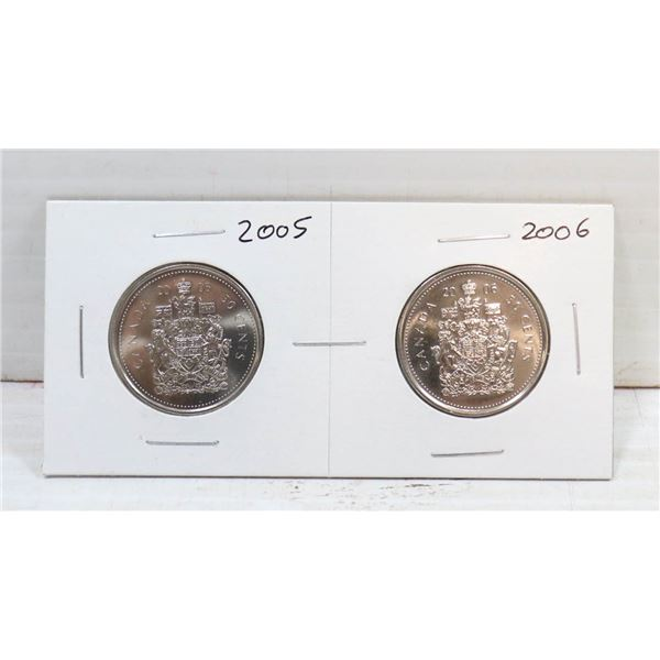 SET OF 2 CANADA 50 CENT COINS 2005/06