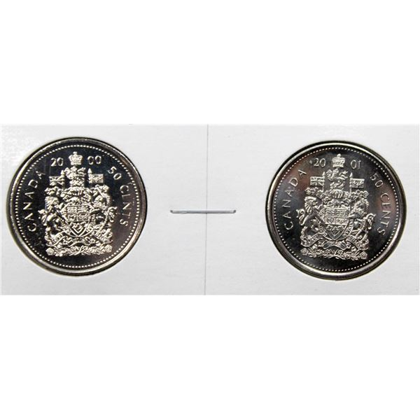 SET OF 2 CANADA 50 CENT COINS 2000/01