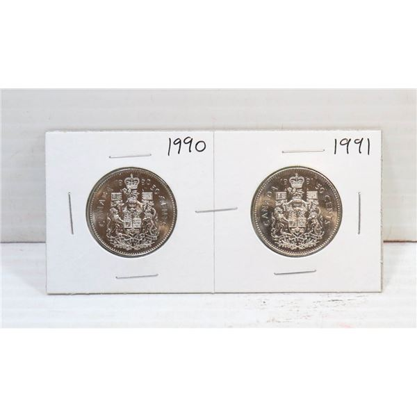 SET OF 2 CANADA 50 CENT COINS 1990/91