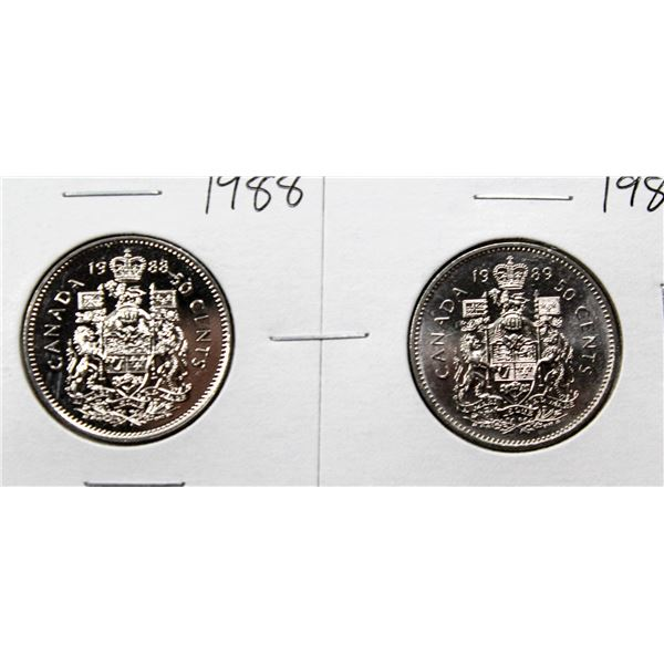 SET OF 2 CANADA 50 CENT COINS 1988/89