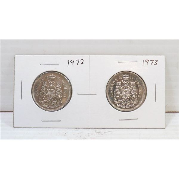 SET OF 2 CANADA 50 CENT COINS 1972/73