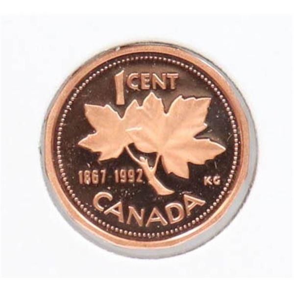 1992 PROOF FINISH CANADA 1 CENT