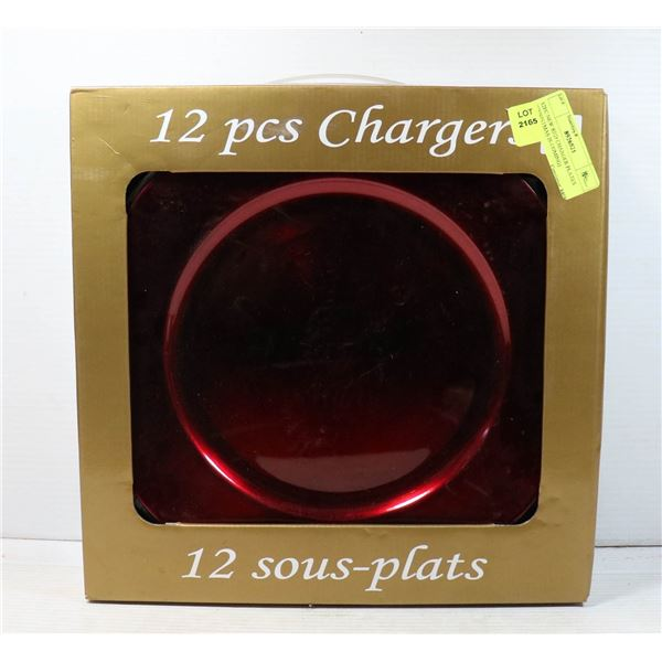 12PC NEW RED CHARGER PLATES (CHRISTMAS IS COMING)