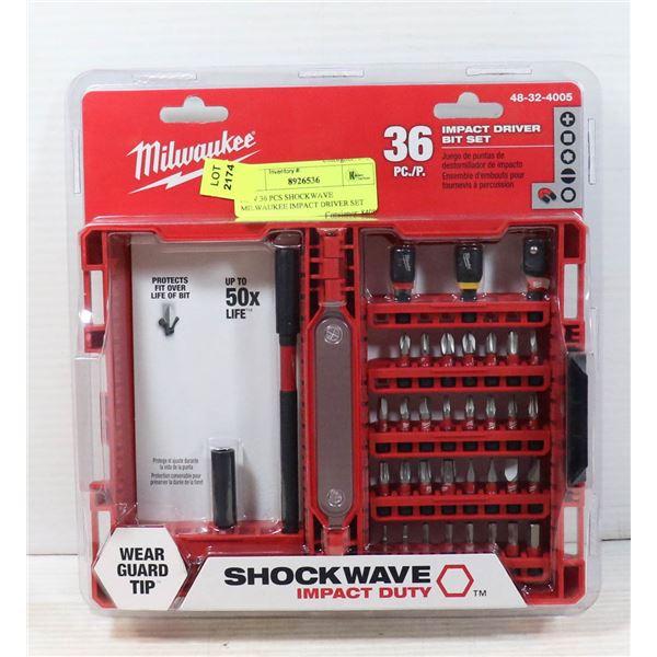 NEW 36 PCS SHOCKWAVE MILWAUKEE IMPACT DRIVER SET