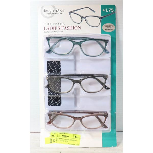 FOSTER GRANT LADIES READING GLASSES 3 PACK +1.75
