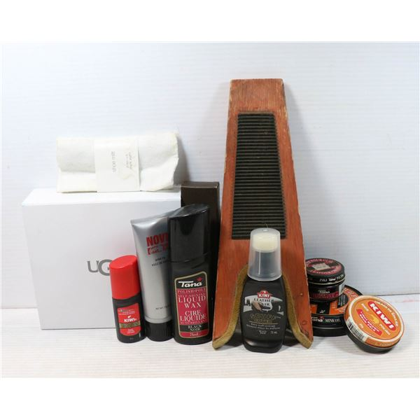 BOX OF SHOE CARE PRODUCTS INCL. UGG AND A