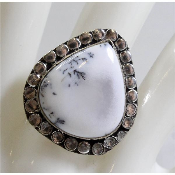 #55-NATURAL DENTRIC OPAL RING SIZE 6.25