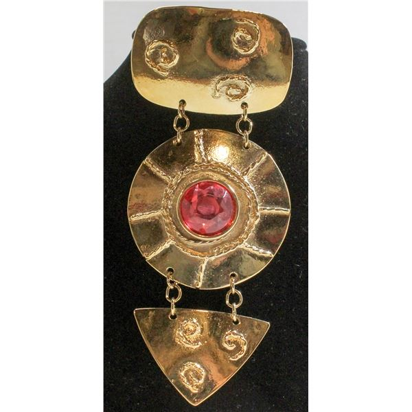 """LARGE 4.5"""" NEWAGE STYLE GOLD TONE BROOCH"""
