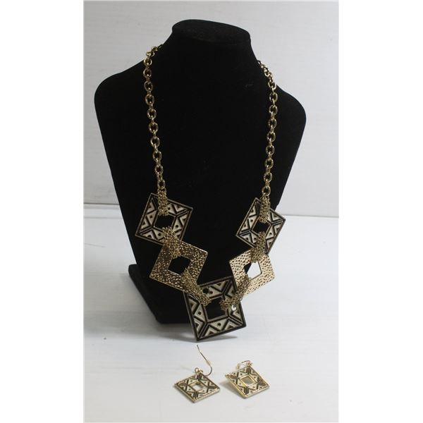 GEOMETRIC PATTERN MATCHED EARRING NECKLACE SET