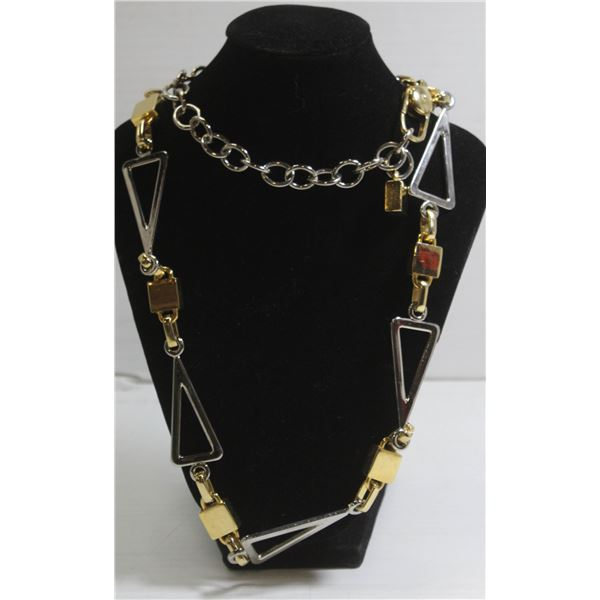 """LARGE 34"""" SILVER AND GOLD TONE LADIES NECKLACE"""