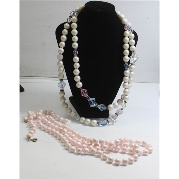 LOT OF 2 MIXED LADIES BEADED STYLE NECKLACES