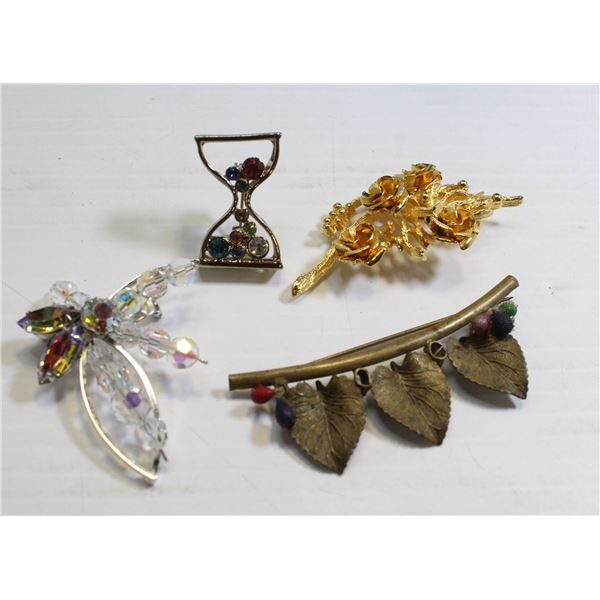 LOT OF 4 VINTAGE MIXED COSTUME BROOCHES