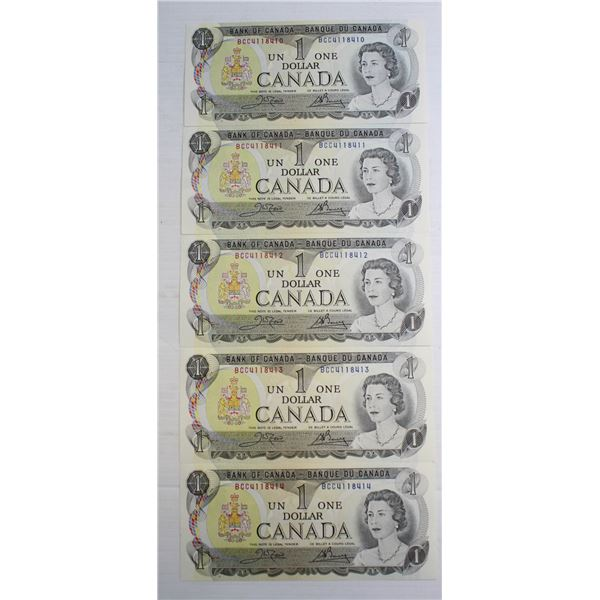 5 ONE DOLLAR NOTES IN SEQUENCE CANADIAN #1