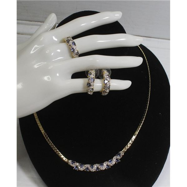 """18"""" MATCHED LADIES RING/EARRING AND NECKLACE SET"""