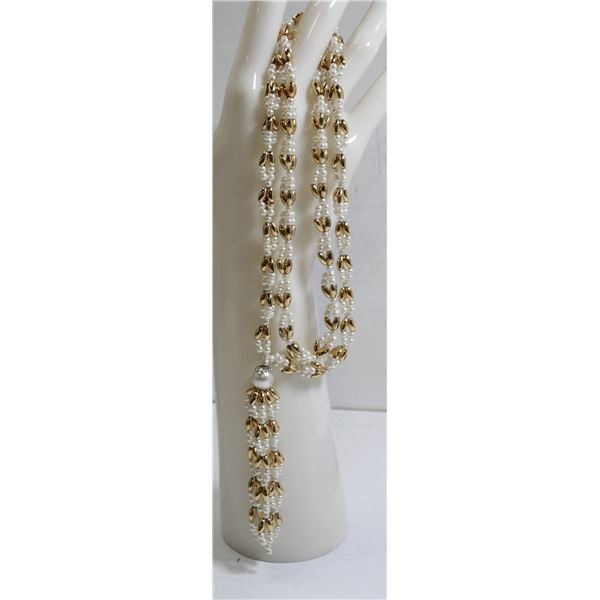 """28"""" GOLD TONE AND PEARL STYLE LADIES NECKLACE"""