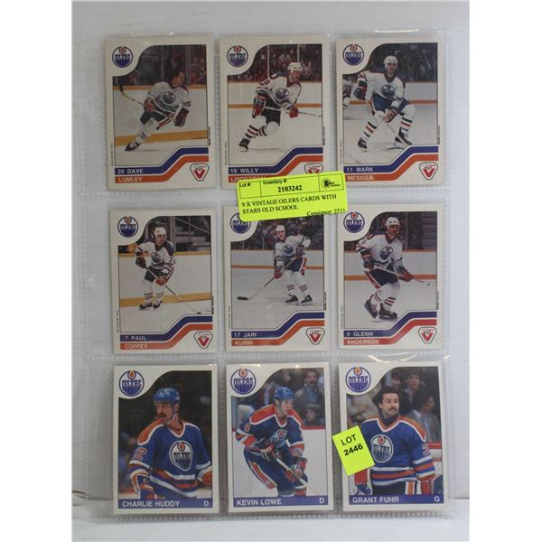 9 X VINTAGE OILERS CARDS WITH STARS OLD SCHOOL