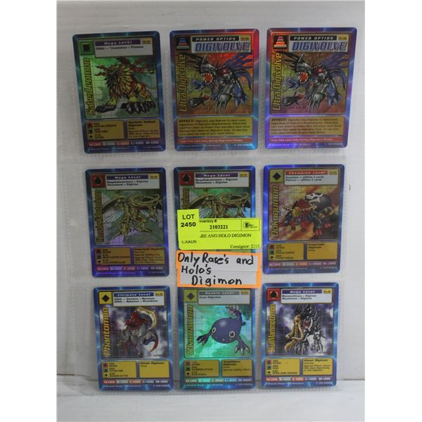 ONLY RARE AND HOLO DIGIMON CARDS
