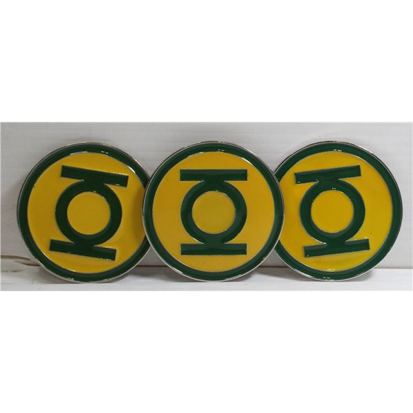 SET OF 3 NEW GREEN LANTERN BELT BUCKLES