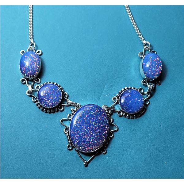 15) BLUE FIRE OPAL NECKLACE SET IN 925