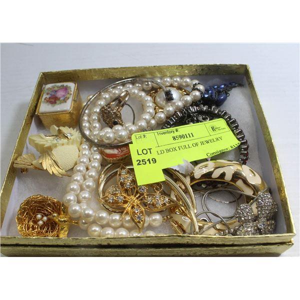 GOLD BOX FULL OF JEWELRY