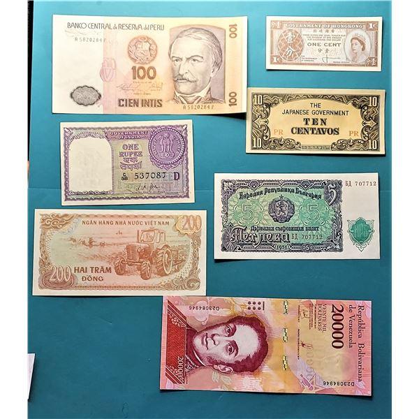 16) LOT OF 7 INTERNATIONAL BANKNOTES.