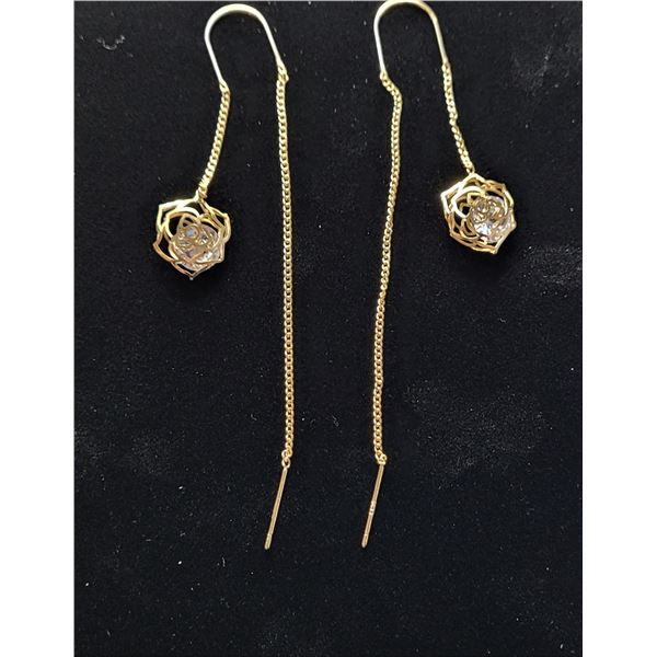 6) GOLD TONE AND CLEAR CZ ROSE THREADER