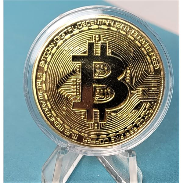 11) ENCAPSULATED GOLD TONE BIT COIN.