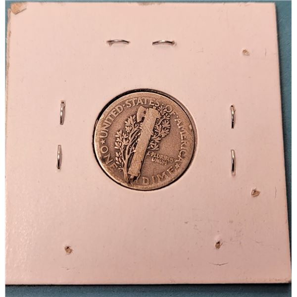 14) US 1920 SILVER MERCURY 10 CENT COIN.
