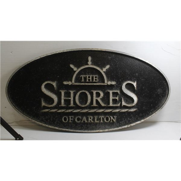 """STEEL SHORES OF CARLTON SIGN APPROX 21.75"""" X 10.2"""