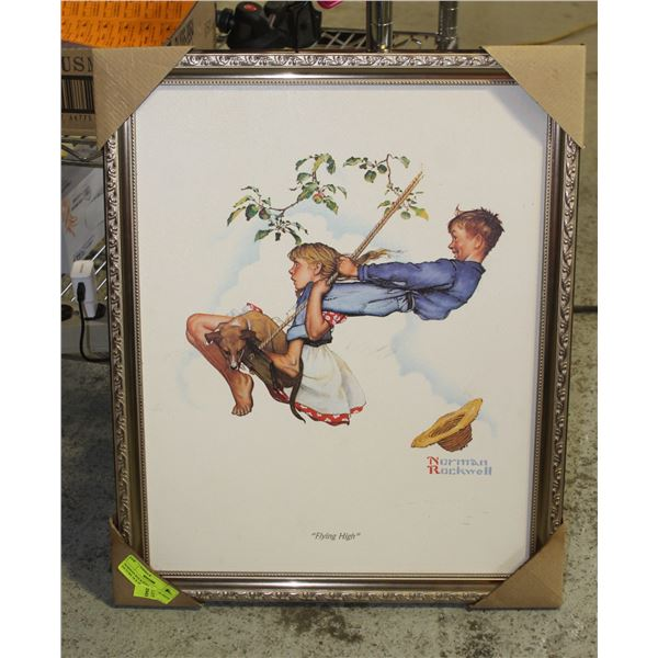"""NORMAN ROCKWELL """"FLYING HIGH' PICTURE 16 X 20"""