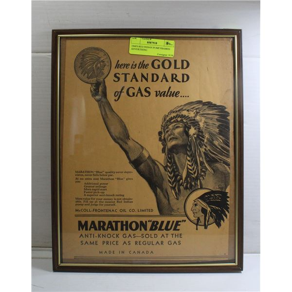 1940'S RED INDIAN PUMP FRAMED ADVERTISING