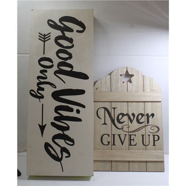 2 PIECE WALL ART GOOD VIBES ONLY, NEVER GIVE UP