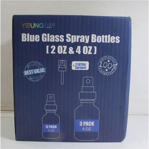 BLUE GLASS SPRAY BOTTLES 15 PIECES (2OZ + 4OZ)