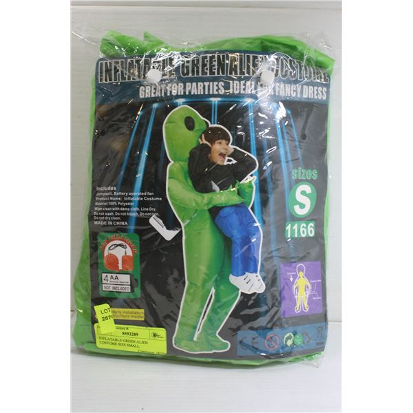 INFLATABLE GREEN ALIEN COSTUME SIZE SMALL