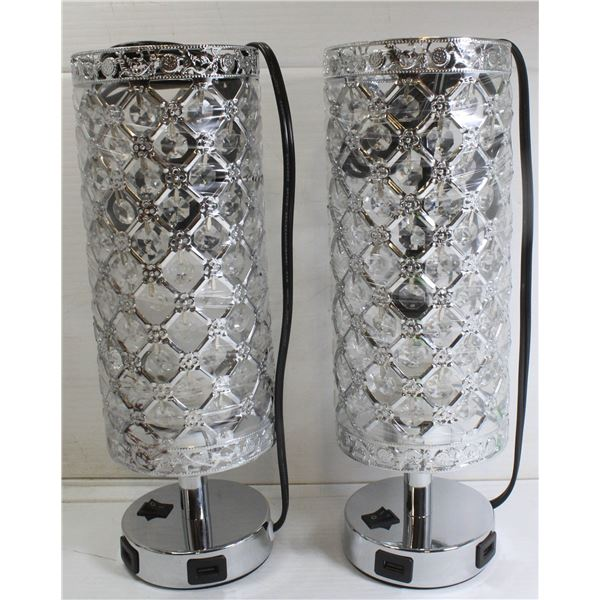 2 PACK SILVER TONED + CRYSTAL TABLE LAMPS W/ USB