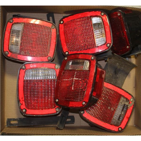 LOT OF 6 TRAILER LIGHTS - SOME WITH BRACKETS