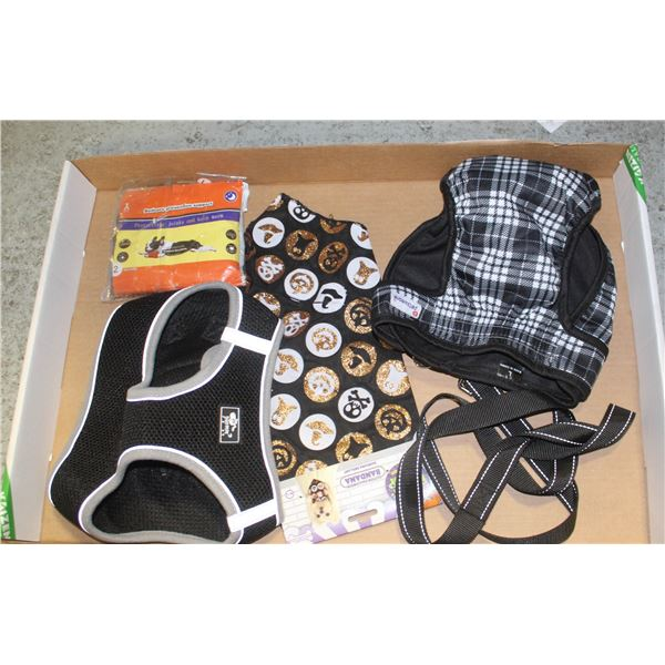LOT OF NEW DOG SUPPLIES - HARNESS, DIAPER ETC.