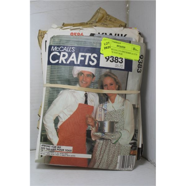 LOT OF MCCALL'S AND SIMPLICITY PATTERNS VINTAGE