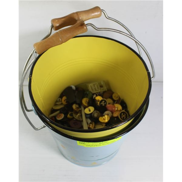 PAIR OF METAL DECORATIVE BUCKETS WITH OLD BUTTONS