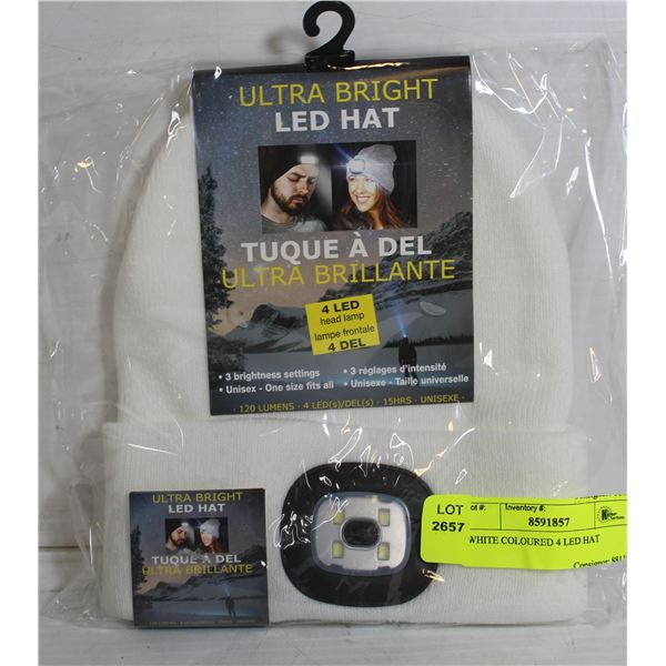 WHITE COLOURED 4 LED HAT