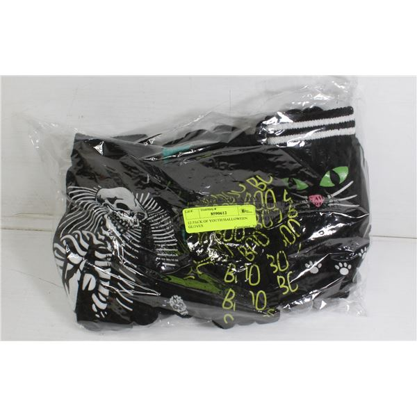 12 PACK OF YOUTH HALLOWEEN GLOVES
