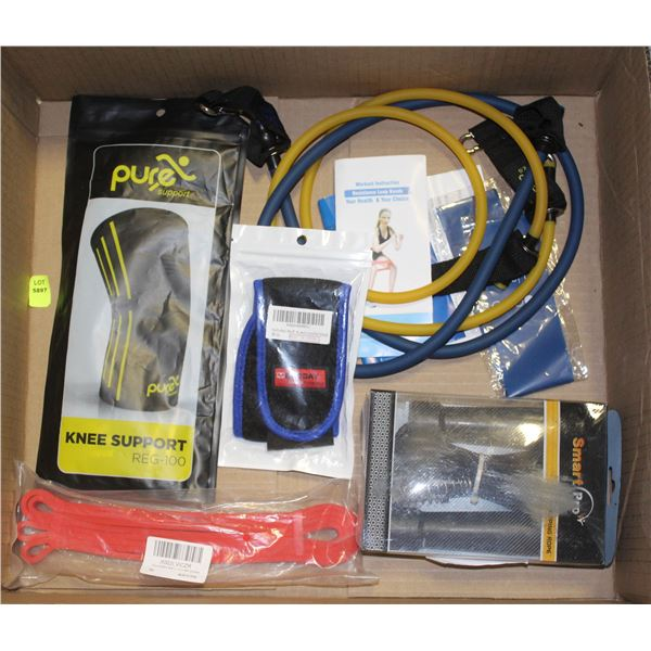 LOT OF NEW WORKOUT SUPPLIES - RESISTANCE BANDS,