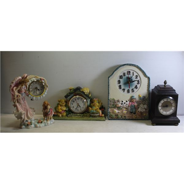 BOX OF VARIOUS CLOCKS