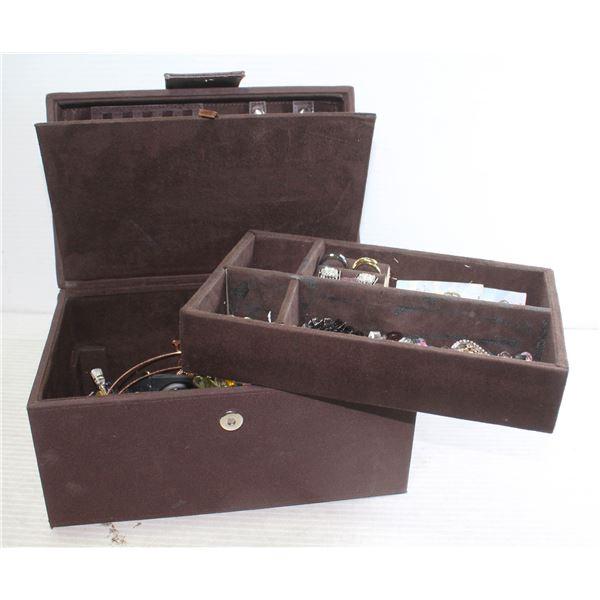 DARK BROWN FABRIC JEWELLERY BOX FULL OF JEWLERRY