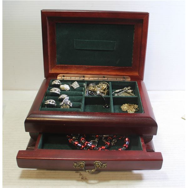 CHERRY WOOD JEWELRY BOX FILLED WITH ESTATE JEWELLR