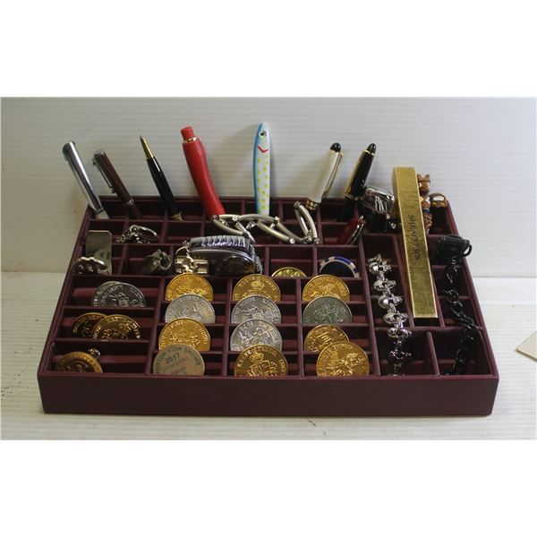 PENS, TOKENS, LIGHTERS, PINS AND MORE IN ORGANIZER