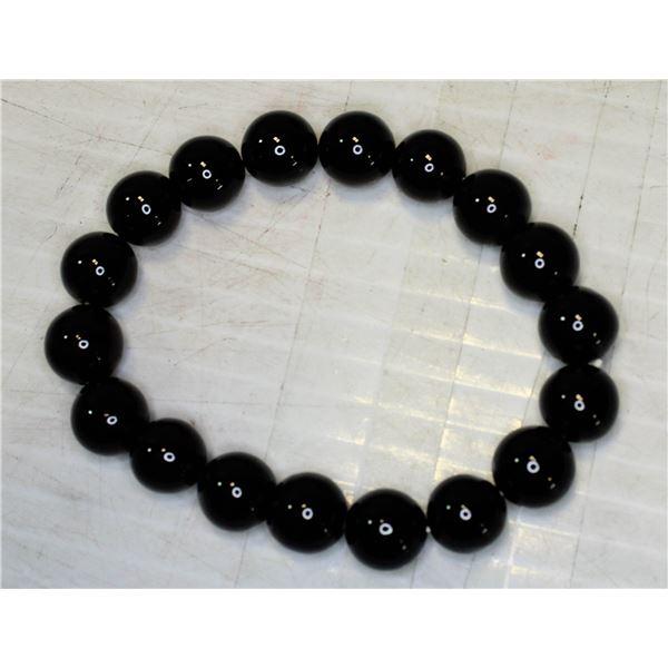 #42-NATURAL BLACK OBSIDIAN BRACELET 10mm