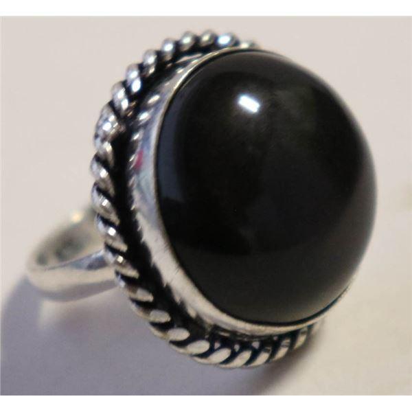 #85-NATURAL BLACK OBSIDIAN RING SIZE 6.5