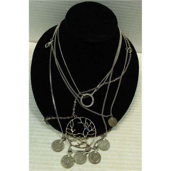 SILVER TONE NECKLACES ALL TOGETHER