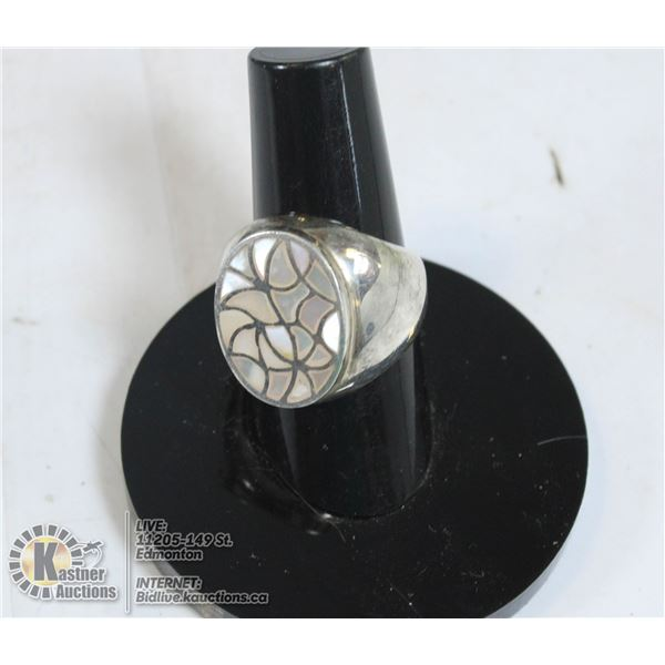 MEN'S MOTHER OF PEARL PINKIE RING